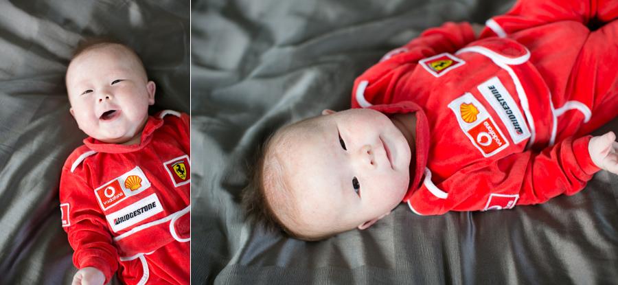 nolan 17 week old baby boy racecar ferrari onesie