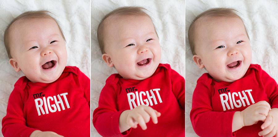 8 month old baby boy mr right onesie valentines day shoot