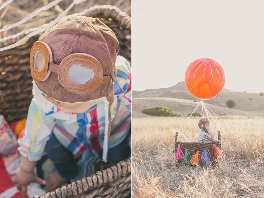 hot air balloon birthday photoshoot