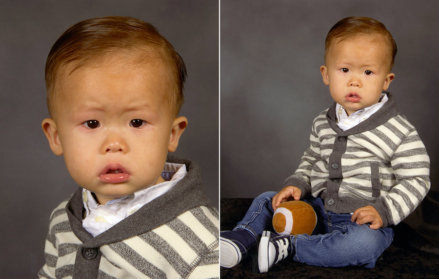 nolan 15 month old baby boy first school picture daycare picture
