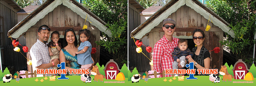 brandon's 1st birthday at zoomars san juan capistrano farmyard themed instant party pix photobooth