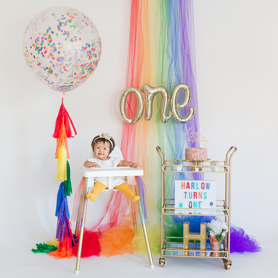 rainbow themed first birthday photoshoot